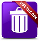 Use the bin (trash icon) purple square button red ribbon in corn Royalty Free Stock Image