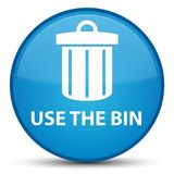 Use the bin (trash icon) special cyan blue round button Stock Photography
