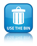Use the bin (trash icon) special cyan blue square button Stock Photography