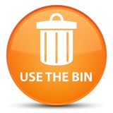 Use the bin (trash icon) special orange round button Royalty Free Stock Image