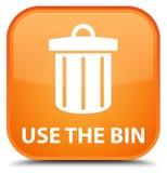 Use the bin (trash icon) special orange square button Stock Photos