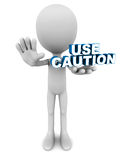 Use caution. Words in hands of a little man on clean background royalty free illustration