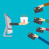 Use credit card exchange to gift box Royalty Free Stock Image