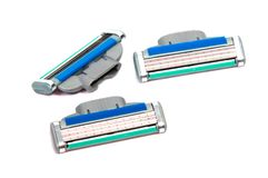 Use disposable shaving machine on white Stock Image
