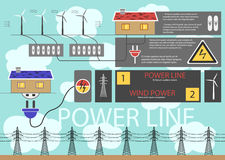 Use of electricity. Use and connection of electricity to the apartment building, electric power stations and reservoirs stock illustration