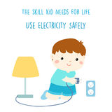 Use electricity safely is skill kid needs for life stock illustration