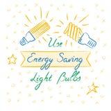 Use Energy Saving Light Bulbs lettering Royalty Free Stock Photos