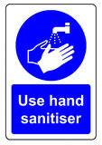 Use hand sanitiser. When washing your hands sign royalty free illustration