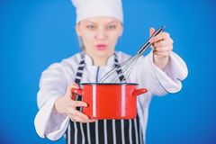 Use hand whisk. Whipping cream tips and tricks. Woman professional chef hold whisk and pot. Start slowly whisking stock photos