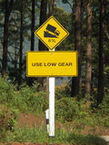 Use low gear traffic signs Stock Photo