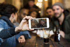Use Mobile Phone Selfie Photo Group Friends Concept Royalty Free Stock Photo