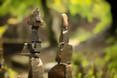 Use of natural stones in the decorated garden, Japanese garden of stones. Close up royalty free stock photography