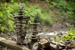 Use of natural stones in the decorated garden, Japanese garden of stones. Close up stock image