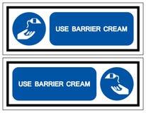 Use o sinal do s?mbolo do creme da barreira, ilustra??o do vetor, isolada na etiqueta branca do fundo EPS10 ilustração royalty free