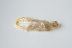 Use and old Condom isolated Royalty Free Stock Photography