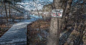 Use at own risk - sign warns of using a trail bridge. Royalty Free Stock Image
