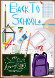 Use Pen Drawing Pen Back To School_eps. Poster of back to school. Some idea came from M. C. Escher - Drawing Hands, 1948 Royalty Free Stock Images