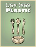 Use less plastic bamboo dishware poster. Motivational phrase. Ecological and zero-waste product. Go green living. Use less plastic bamboo dishware poster vector illustration