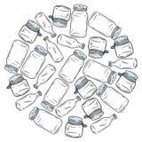 Use less plastic glass jars ball. Motivational image. Ecological and zero-waste. Go green living stock illustration