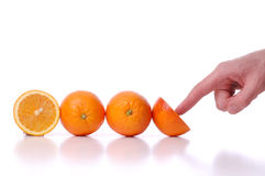 Use and pushes perfectly fresh oranges. On white background royalty free stock photo