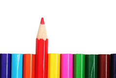 Use red!. A row of color pencils. Red one sharpened and ready to use stock photography