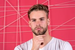 Use right product styling hair. Confident with tidy hairstyle. Barber hairstyle tips. Man bearded guy modern hairstyle stock images