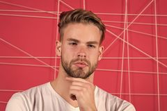 Use right product styling hair. Confident with tidy hairstyle. Barber hairstyle tips. Man bearded guy modern hairstyle royalty free stock images
