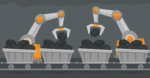 The use of robotic technology in mine industry. Royalty Free Stock Photography