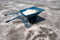 Use salt trolley. Salt trolley for carrying salt at the salt farm in Samutsongkhram Province,Thailand.Salt production is one of the main industries in Thailand stock photography