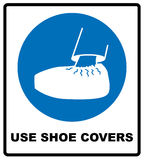 Use shoe covers sign. Protective safety covers must be worn, mandatory sign, vector illustration. Stock Image