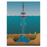 The use sonar to measure the depth of the bottom of the sea stock illustration