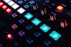 DJ soundboard or mixing console  use in sound recording and reproduction Stock Image