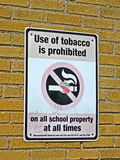 Use of tabacco prohibited in all schools, sign, Stock Images