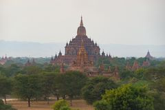 Pagodas at Bagan , Myanmar. Use tele photo lens for different royalty free stock photo