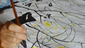 Use Writing brush to creating Traditional Chinese painting. stock video footage