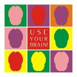 Use your brain colorful vector icon set Royalty Free Stock Images