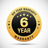 6 year warranty golden label isolated on white background. Use for your product, business, etc. Gold warranty label is scalable in EPS format Royalty Free Stock Image