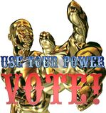 Use your vote. Use your power vote sign and golden man Stock Photo