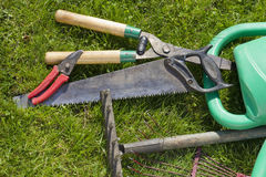 Used ​​old garden tools background Stock Image