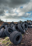 Used and Abandoned car tires landscape Stock Photography