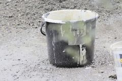 Used abstract bucket. Paint buckets that look abstract have artistic value and favor in the eyes Stock Photos
