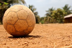 Used African Soccer Ball Royalty Free Stock Photos