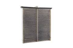 Used air filter for car, auto spare part, isolated on white Royalty Free Stock Images