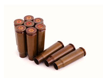 Used AK47 shells. Closeup of used 7.62mm shells or cartridges from AK47, white background Stock Photo