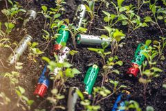 Used alkaline batteries lie in the soil where plants grow. Concept of environmental pollution with toxic household waste. Used alkaline batteries lie in the soil royalty free stock photos
