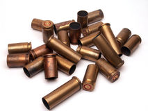 Used ammunition. Empty cases of 9mm ammunition stock image