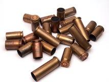 Used ammunition. Empty cases of 9mm ammunition Stock Image