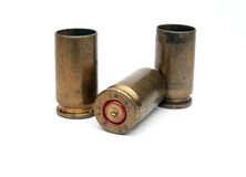 Used ammunition. Empty cases of 9mm ammunition royalty free stock images
