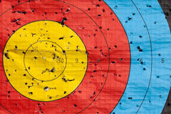 Used archery target close up Royalty Free Stock Images