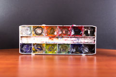 Used Artist Child Paint Tray Stock Photography